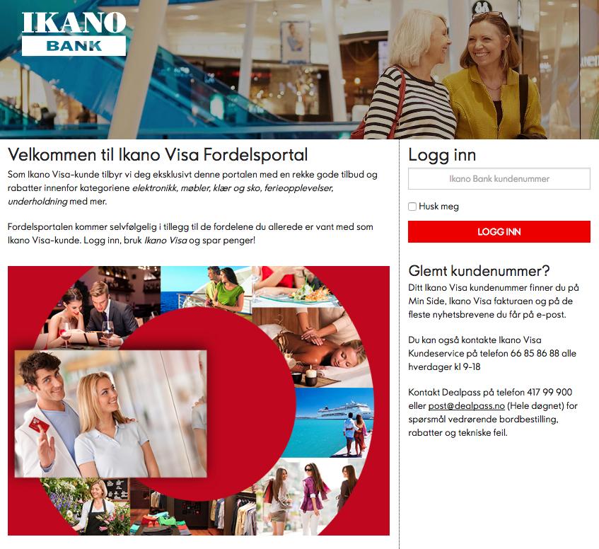 På denne siden kan du logge deg inn i Ikano Visas fordelsportal