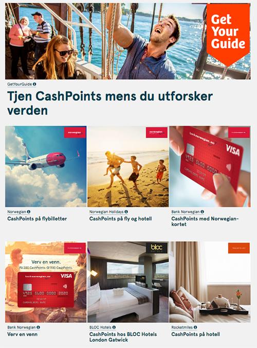 En oversikt over CashPoint-muligheter gjennom Norwegian Reward