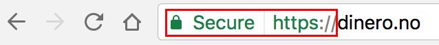 Slik ser SSL-sertifisering ut i nettleseren Chrome.